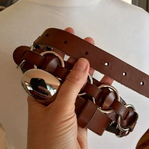 CHICO'S CHAINS FAUX LEATHER BROWN BELT